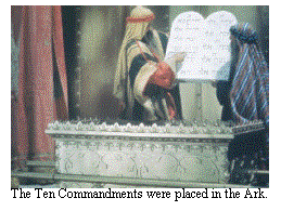 The Ten Commandments were placed in the Ark.